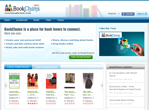 BookChums.com - India's first Social Networking website for book lovers.