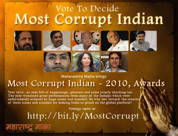 Most Corrupt Indian - 2010, Awards
